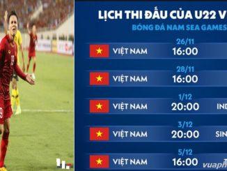 Lịch thi đấu vòng bảng của U22 Việt Nam tại Sea Games 30 new